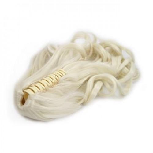 Ponytail Hestehale med hårklemme, curly - lysblond #60