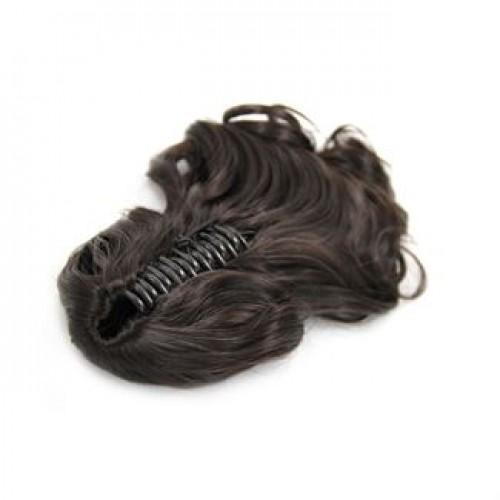 Ponytail hestehale med hårklemme, Curly - mørkebrun #2