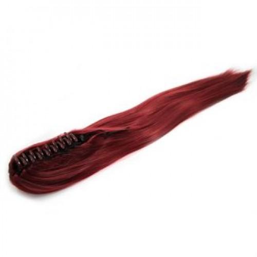 Ponytail Hestehale med hårklemme, glat - rød brun #33