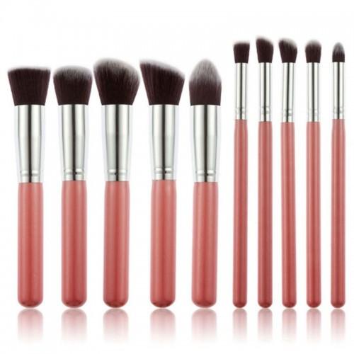 PRO Makeupbørster Rose / silver - 10 stk