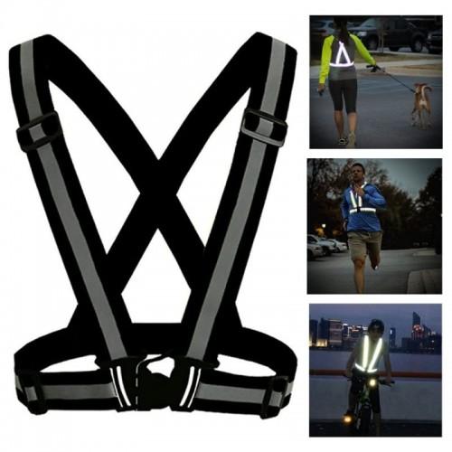 PRO SPORT Refleksvest / reflekssele til løb / cykling - sort
