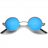 Retro Solbriller- Runde Blue Mirror