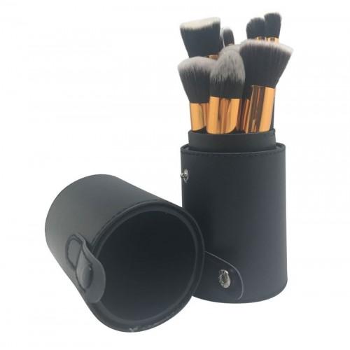 Sæt med 10 makeupbørster i sort etui