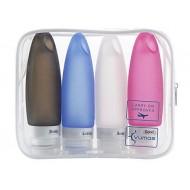 Sæt med genanvendelige silikone rejseflasker (4 x 98 ml.)