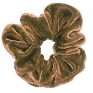 Scrunchie - Velour & elastik - Lysebrun