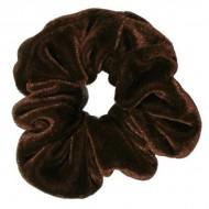 Scrunchie - Velour & elastisk - Mørkebrun