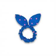 Scrunchie med sløjfe - Blå med pink prikker
