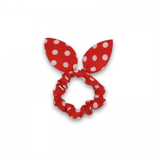 Scrunchie med sløjfe - Rød med hvide prikker