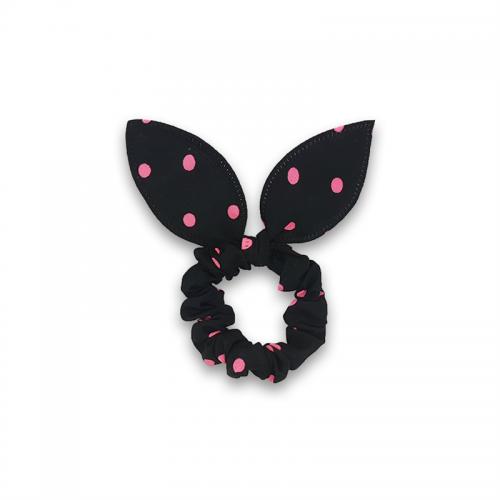 Scrunchie med sløjfe - Sort med pink prikker