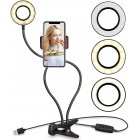 Selfie LED light ring m/ justerbare arme til smartphones