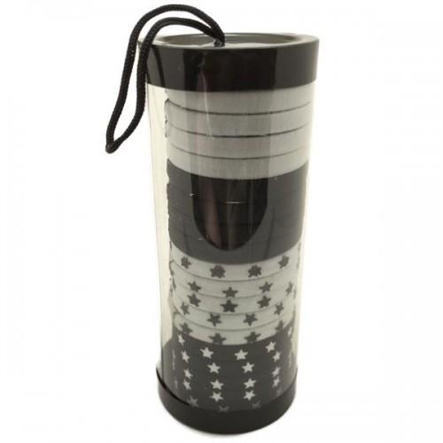 SOHO® Tube - Black / White Stars hårelastikker - 20 stk