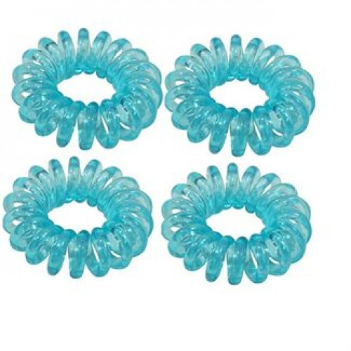 Spiral elastikker turkis blå 4 stk.