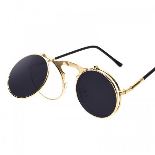 Steampunk solbriller i guld med flip funktion