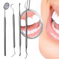 Tandrensningssæt 4 dele  til Dental Hygiejne - 1 Mundspejl, 2x Curette tandrenser, 1 scraper