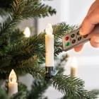 Trådløs LED Juletræslys med klemmer & fjernbetjening - 10 stk