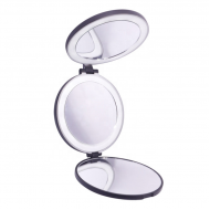 Tri-fold Kompakt Rejsespejl med LED (5x og 10x forstørrelse) - Sort