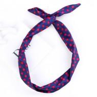 Twist Headband med ståltråd - Blå med røde polkaprikker