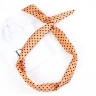 Twist Headband med ståltråd - Fersken med sorte polkaprikker