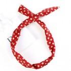 Twist Headband med ståltråd - Rød med hvide polkaprikker