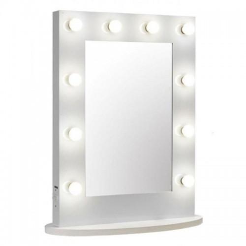 Uniq Hollywood XL bordspejl med 10 pærer, hvid