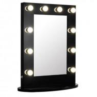 Uniq Hollywood XL bordspejl med 10 pærer, sort