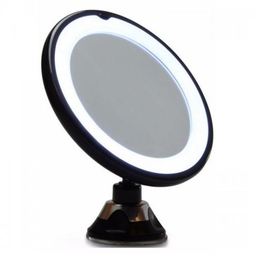 UNIQ Spejl med LED Lys og sugekop x10 forstørrelse - Sort