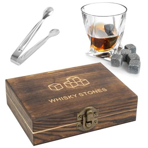 Whiskey Stone Isterninger til Whiskey Gaveæske i træ