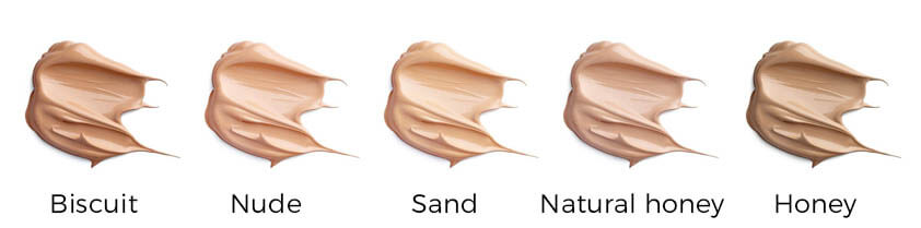 Swatches af W7 Sheer Foundation.
