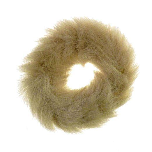 Image of   Hårelastik med pels - Faux Scrunchie, natur