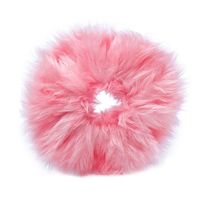 Image of   Hårelastik med pels - Faux Scrunchie, pink