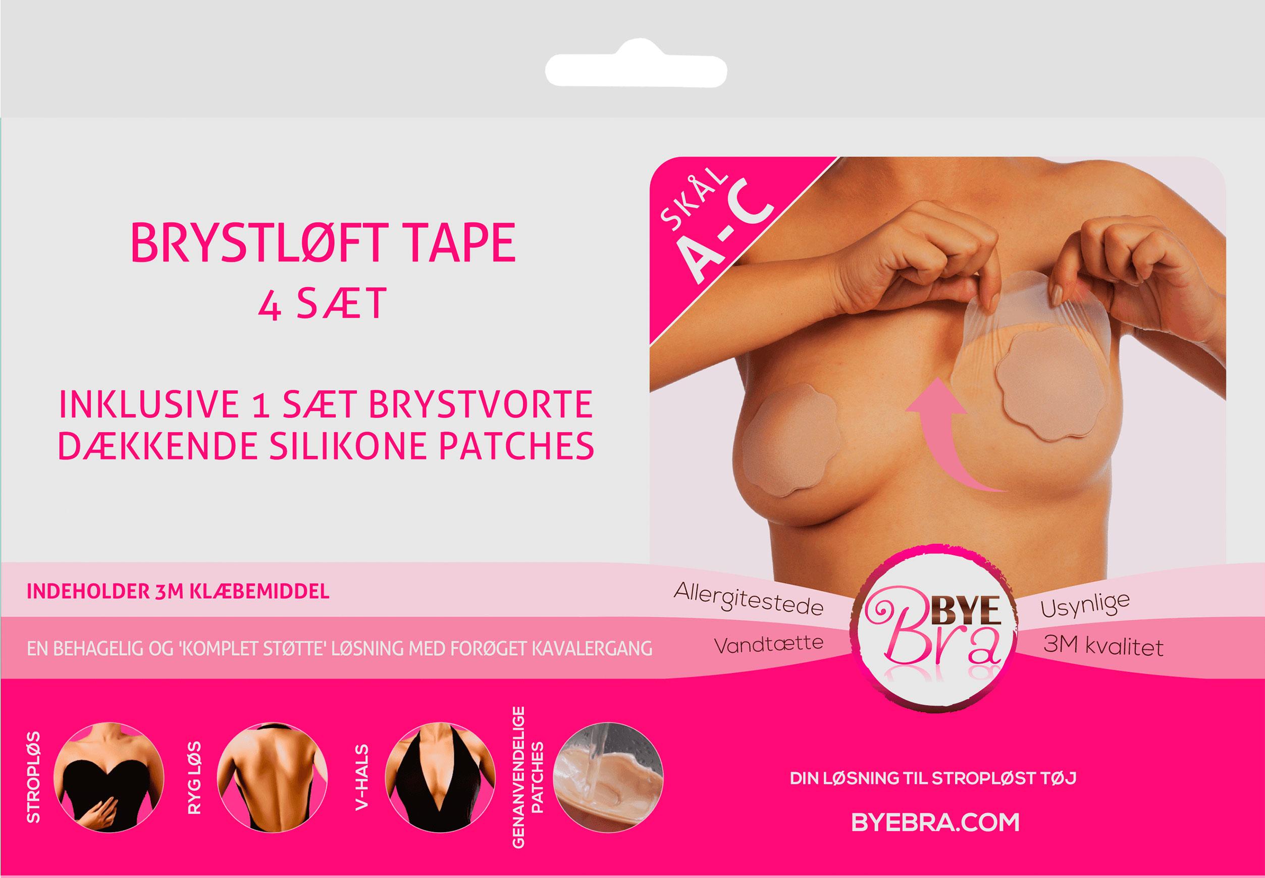 Image of ByeBra® Brysttape med silikone brystvorteskjulere - Skål: A, B, C