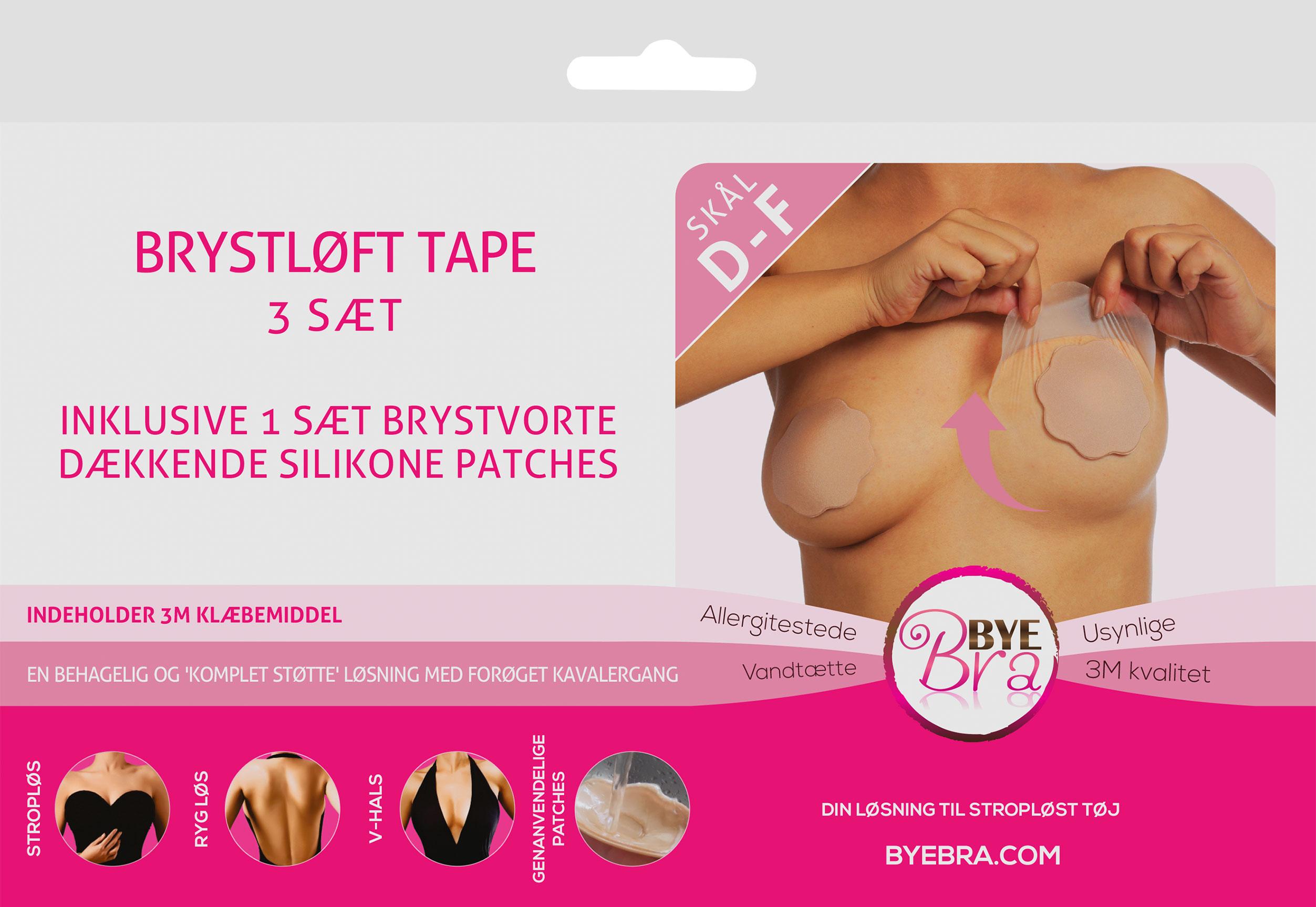 Image of ByeBra® Brysttape med silikone brystvorteskjulere - Skål: D, E, F