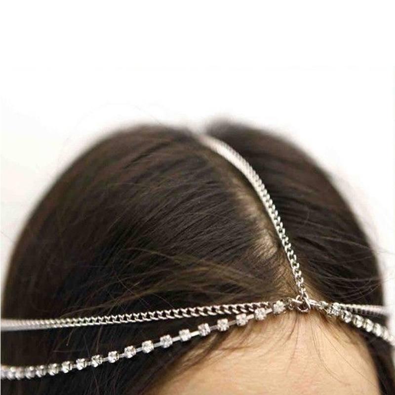 Image of   Bohemian Head Chain hovedsmykke i sølv og diamanter