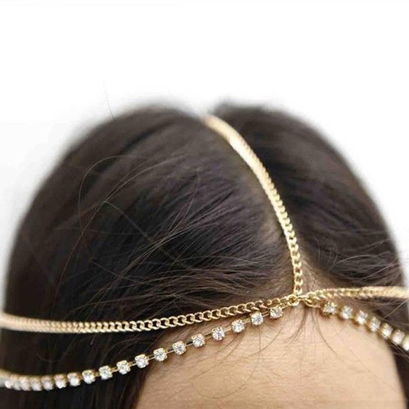 Image of   Bohemian Head Chain hovedsmykke i guld og diamanter