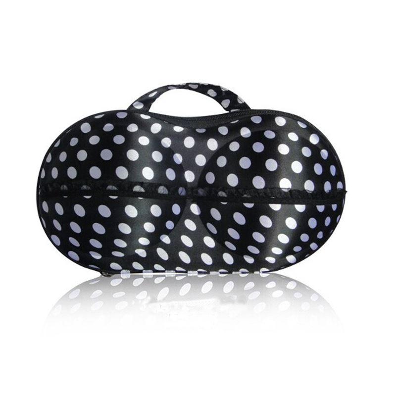 Image of   BH taske til opbevaring - Sort med hvide dots