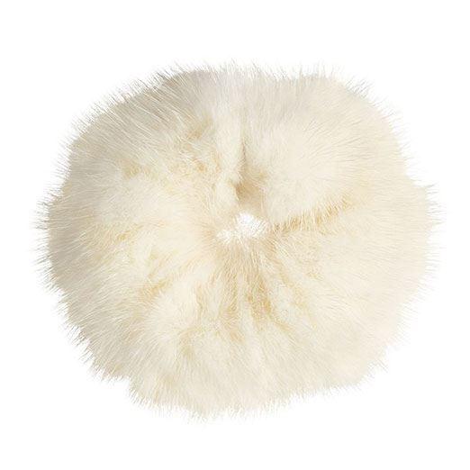 Image of   Hårelastik med pels - Faux Scrunchie, hvid