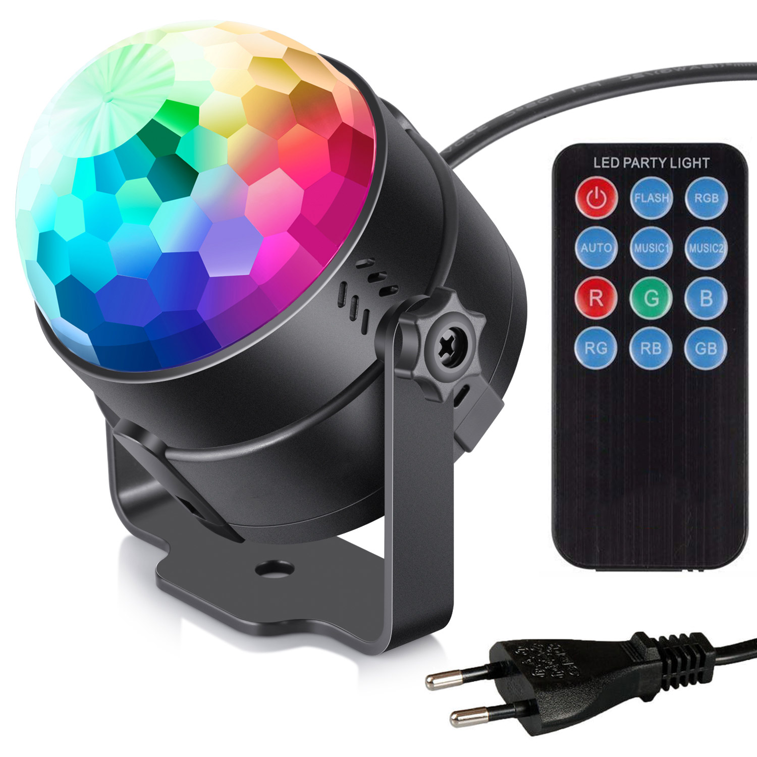 Image of   Diskokugle med roterende RGB lys og fjernbetjening (LED Party Light)