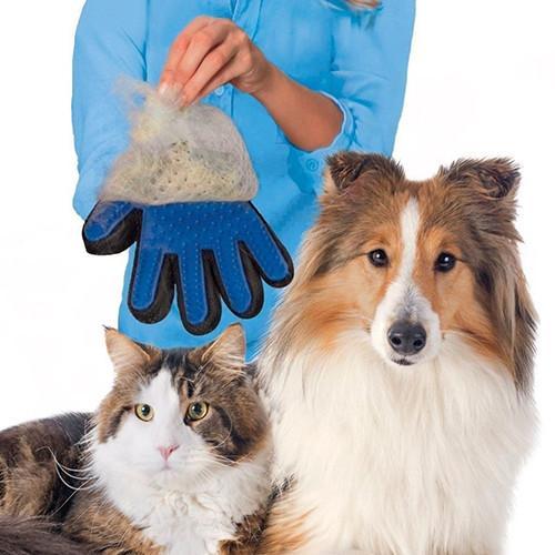 Image of   Handske med silikonebørster til hund / kat | Pet Grooming Glove True Touch